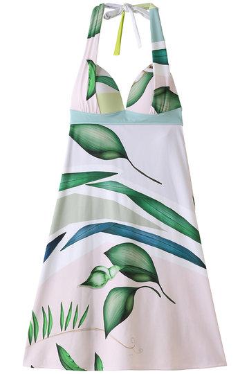 レイール(ミズギ)/Reir(水着)の【Reir Beach】Panel Leaf スイムドレス(ホワイト/55-57-9-7978)