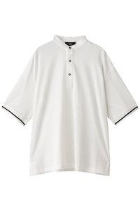 <ELLE SHOP> THE RERACS ザ・リラクス メンズ(MENS)ノーカラーポロシャツ ホワイト画像