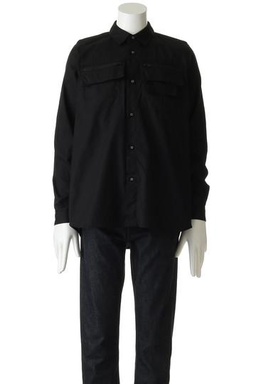 ホワイトマウンテニアリング/White Mountaineeringの【MEN】ビッグジップチェストポケットフレアヘムオックスシャツ(ブラック/WM1873104)