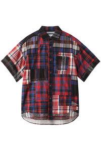 30%OFF!<ELLE SHOP>メンズ(MENS)マドラスチェックパッチワーク ハーフスリーブシャツ ネイビー画像