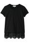 裾レースTシャツ カルヴェン/CARVEN ブラック