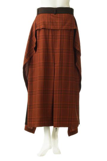 アドーア/ADOREのヴィスコースチェックベルト付きスカート(オレンジ/531-9220707)