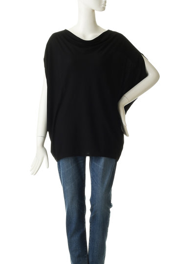 ロゥタス/Rawtusの【Raw+foundation】コットンジャージードレープTシャツ(ブラック/R94-CS9006)