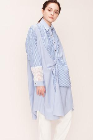 【予約販売】ストライプシャツワンピース ランバン オン ブルー/LANVIN en Bleu