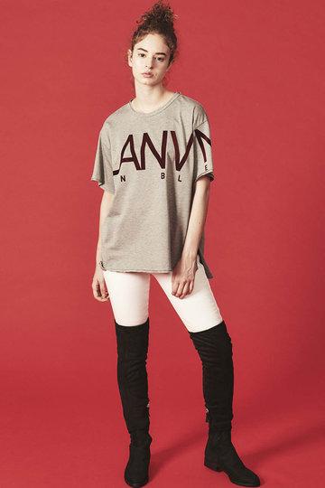 ランバン オン ブルー/LANVIN en BleuのフロッキーロゴプリントTシャツ(グレー/3986704)