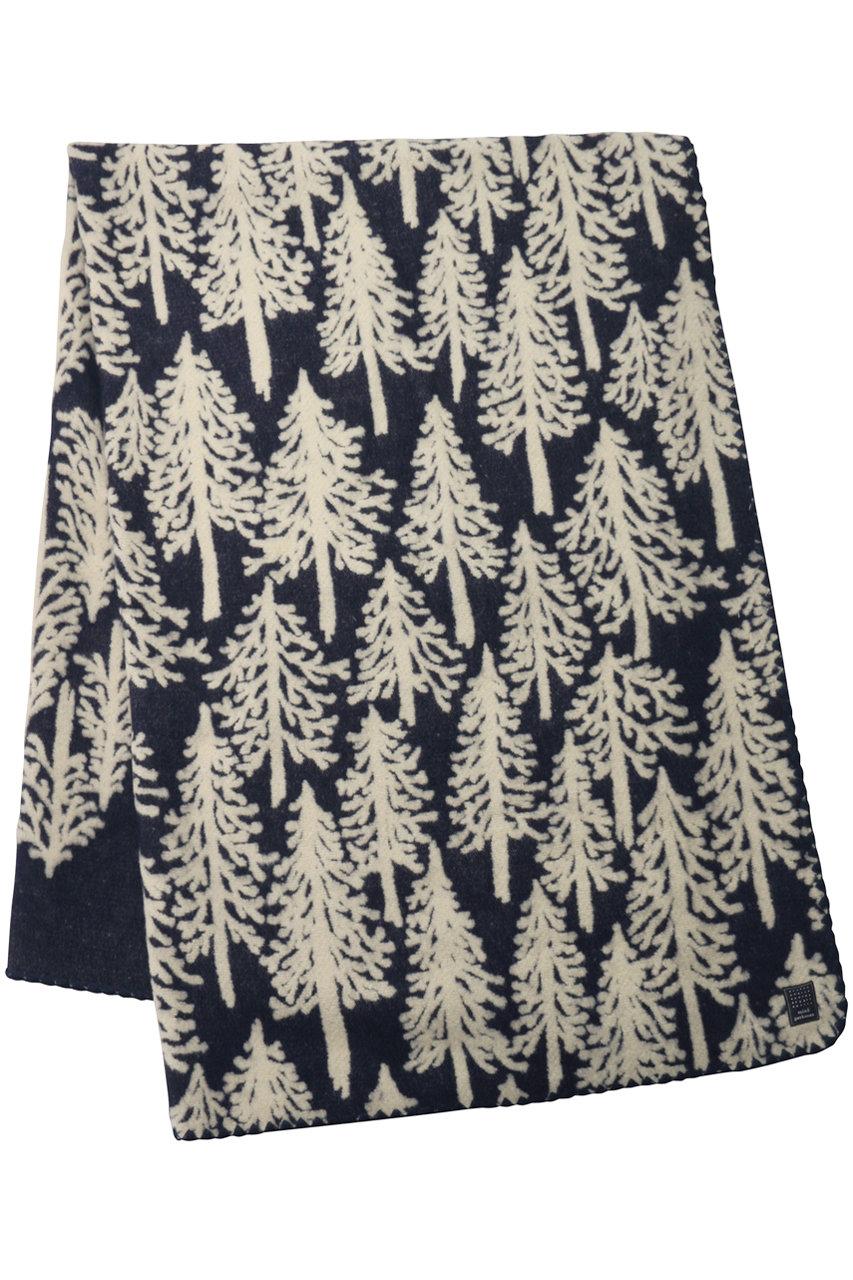ミナ ペルホネン/mina perhonenのmetsa ブランケット Large(約205×146cm)(ネイビー/ya7381)