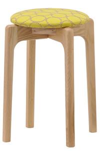 <ELLE SHOP>【受注生産】MARUNI60 スタッキングスツール oak frame イエロー×ブルー画像