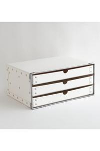 <ELLE SHOP>【SEMPRE】3段ボックス横型 ホワイト