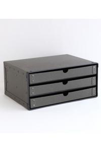 <ELLE SHOP>【SEMPRE】3段ボックス横型 Dグレー