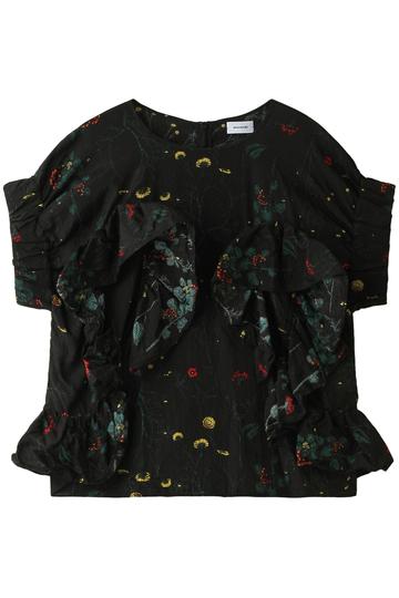 REKISAMI レキサミ フラワープリントラッフルシャツ ブラック