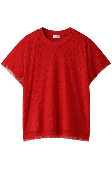 REKISAMI レキサミ ドットチュールレイヤードTシャツ レッド