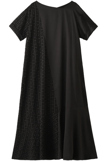 REKISAMI レキサミ 刺繍コンビフレアワンピース ブラック