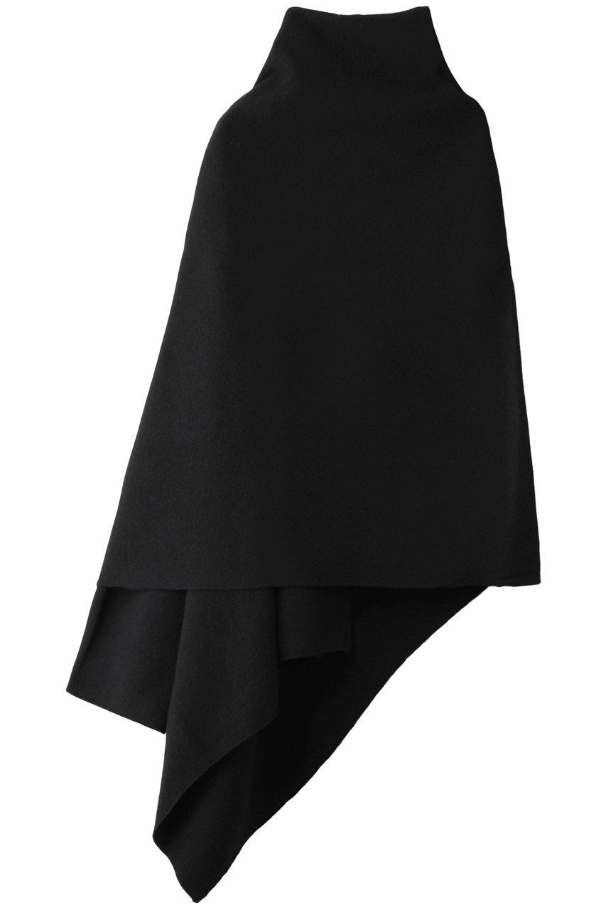 プレインピープル/PLAIN PEOPLEのSULTAN圧縮ウールニット片袖ストール(ブラック/A1503KSE002)