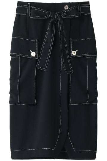 プレインピープル/PLAIN PEOPLEのバックサテンクレープスカート(ブラック/H1583FS 704)