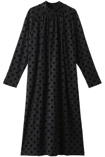 プレインピープル/PLAIN PEOPLEのフロッキードットプリントジャージドレス(ブラック/H1583UA 430)