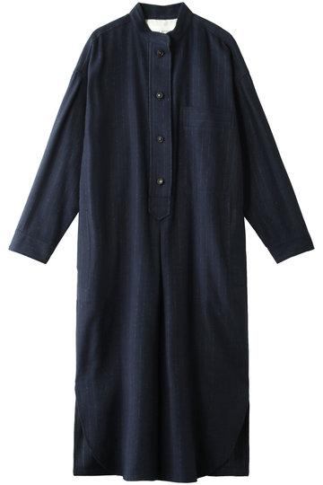 プレインピープル/PLAIN PEOPLEのフランネル起毛ストライプシャツワンピース(ネイビー/H1583FA 239)