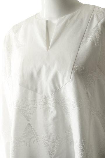 プレインピープル/PLAIN PEOPLEのコットン刺繍ヨーク切替プルオーバーブラウス(ホワイト/H1591FB 205)