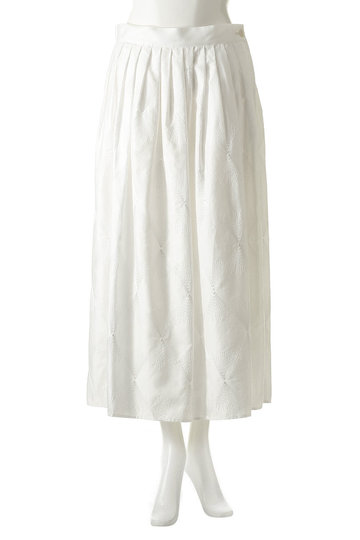 プレインピープル/PLAIN PEOPLEのコットン刺繍フレアスカート(ブラック/A1591FS 206)
