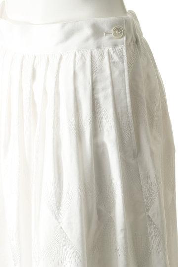 プレインピープル/PLAIN PEOPLEのコットン刺繍フレアスカート(ホワイト/A1591FS 206)