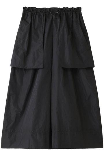 プレインピープル/PLAIN PEOPLEのポリエステルタフタウエストドローフレアスカート(ブラック/A1591FS 204)