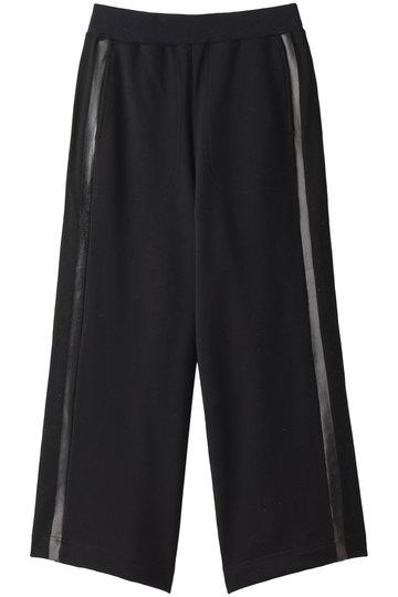 プレインピープル/PLAIN PEOPLEのコットン裏毛ジャージプリント側章パンツ(ブラック/A1591UP 401)