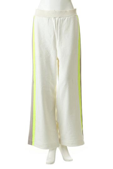 プレインピープル/PLAIN PEOPLEのコットン裏毛ジャージプリント側章パンツ(ホワイト/A1591UP 401)