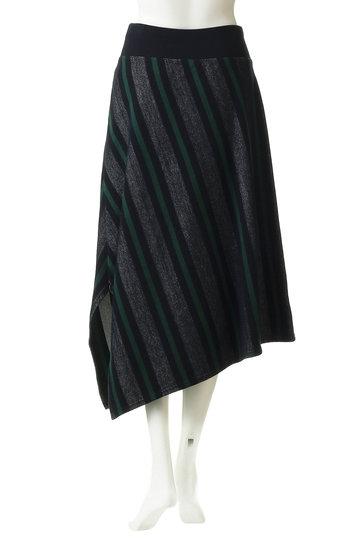 プレインピープル/PLAIN PEOPLEのコットンラガーボーダーアシンメトリースカート(ネイビー×グリーン/A1591US 409)