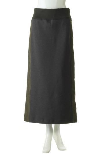 プレインピープル/PLAIN PEOPLEのクレープピケ切替スカート(ブラック/H1591US 406)