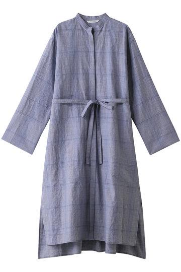 プレインピープル/PLAIN PEOPLEのグレンチェックスタンドカラーシャツワンピース(ブルー/A1591FA 231)