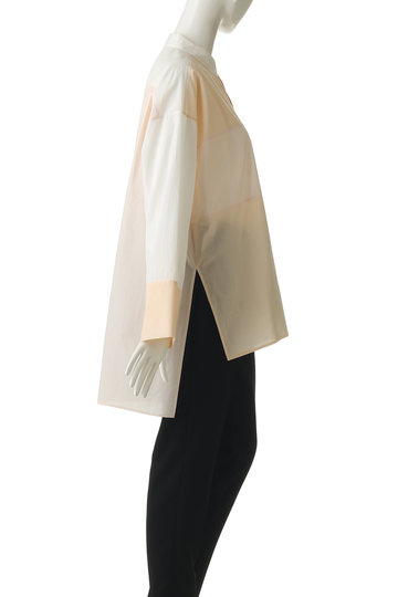 プレインピープル/PLAIN PEOPLEのパッチワークシャツブラウス(ホワイト/A1591FB 222)