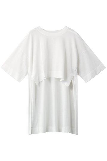 プレインピープル/PLAIN PEOPLEのコットン天竺ニットプルオーバー(ホワイト/A1591KSW059)