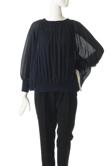 プレインピープル/PLAIN PEOPLEのコットン楊柳ギャザーブラウス(ネイビー/A1591FB 268)