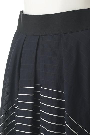 プレインピープル/PLAIN PEOPLEのコットンシルクボーダーイレヘムスカート(ネイビー/A1591FS 243)