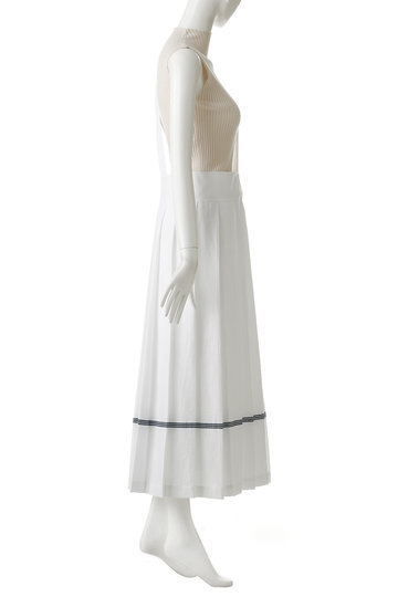 プレインピープル/PLAIN PEOPLEのコットンワッフルワンショルダーストラップラインスカート(ホワイト×ブルー/A1591FS 245)