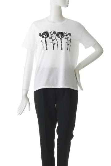プレインピープル/PLAIN PEOPLEの【plainless】コットンソフトギザ天竺プリントTシャツ(ホワイト/A1592UB 403)