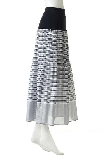 プレインピープル/PLAIN PEOPLEのマルチボーダープリーツスカート(ネイビー/A1591FS 239)