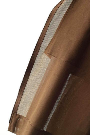 プレインピープル/PLAIN PEOPLEのコットンパナマフロントジップ半袖ブルゾン(ブラウン/A1591FJ 250)