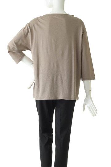 プレインピープル/PLAIN PEOPLEのコットンリネンドライ天竺クルーネックロングTシャツ(ベージュ/A1591UB 807)