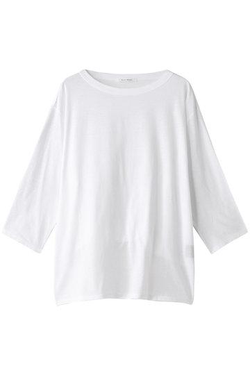 プレインピープル/PLAIN PEOPLEのコットンリネンドライ天竺クルーネックロングTシャツ(ホワイト/A1591UB 807)