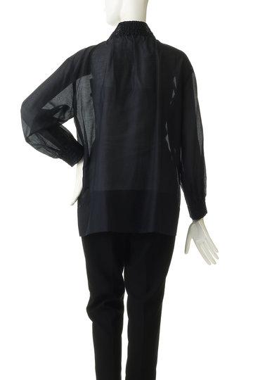 プレインピープル/PLAIN PEOPLEのコットンシルクローンシャーリングハイネックプルオーバーブラウス(ブラック/A1591FB 732)