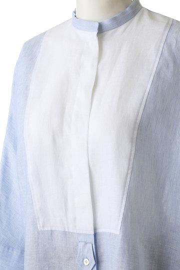 プレインピープル/PLAIN PEOPLEのリネンヨーク切替シャツブラウス(ブルー/A1591FB 260)