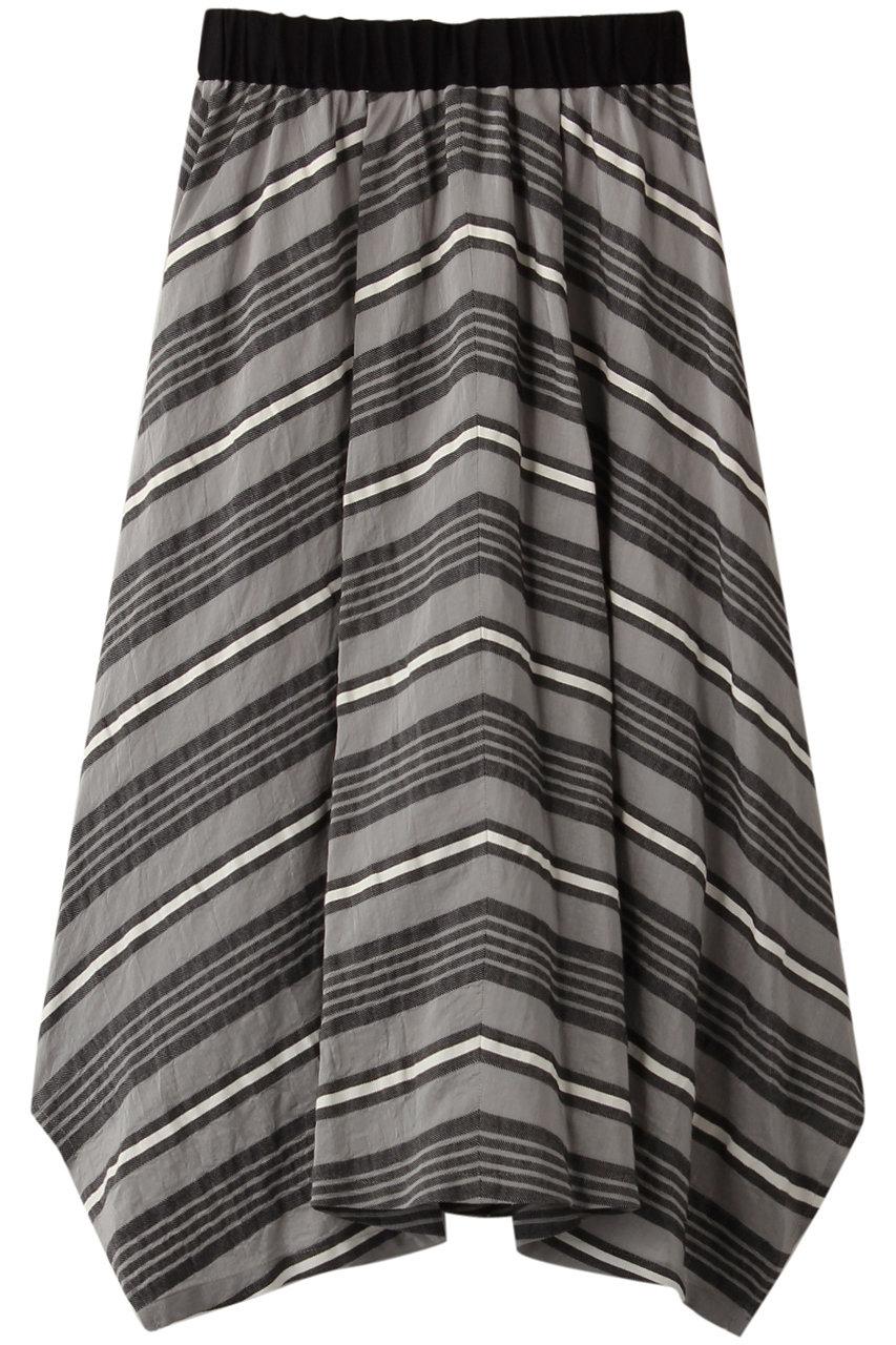 プレインピープル/PLAIN PEOPLEのバイアスストライプフレアスカート(グレー/A1593FS 213)