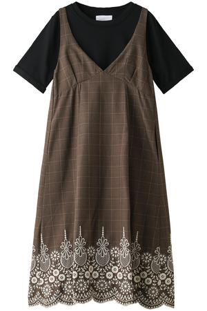 Tシャツ付グレンチェック刺繍キャミワンピース ザ ヴァージニア/The Virgnia