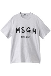 <ELLE SHOP>メンズ(MENS)手書きロゴTシャツ グレー画像