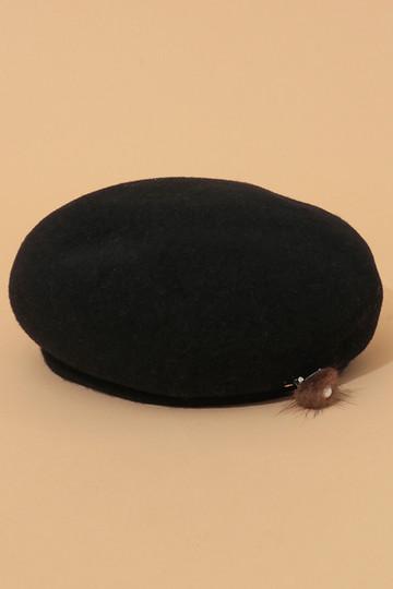 SALE 【50%OFF】 [31 Sons de mode トランテアン ソン ドゥ モード] ファーピン付ベレー帽 ブラック