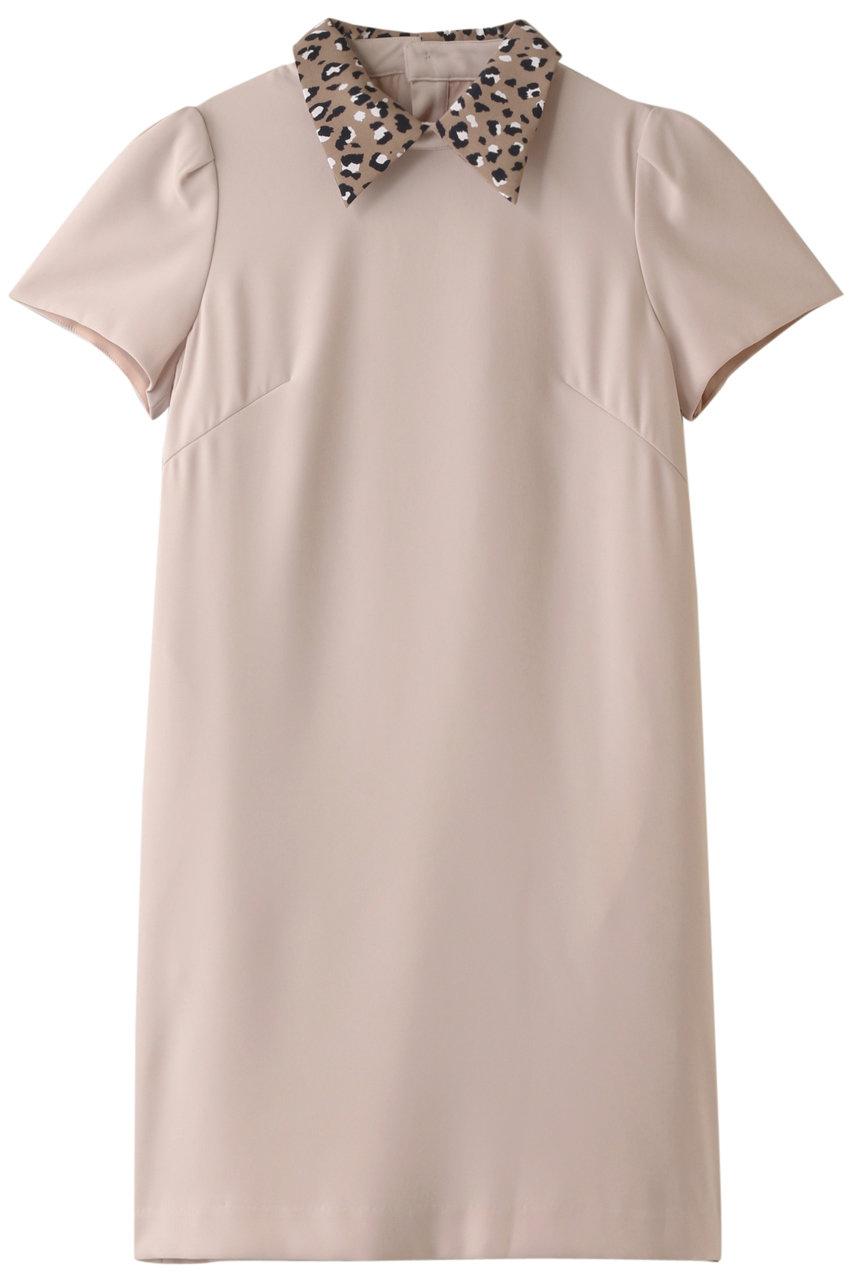 トランテアン ソン ドゥ モード/31 Sons de modeのレオパード柄衿サックワンピース(ベージュ/0079355)