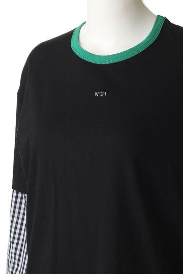 ヌメロ ヴェントゥーノ/N°21のミニロゴシャツスリーブトップス(黒/F072-4157)