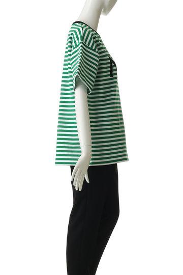 ヌメロ ヴェントゥーノ/N°21のロゴボーダーTシャツ(グリーン/E031-4032)