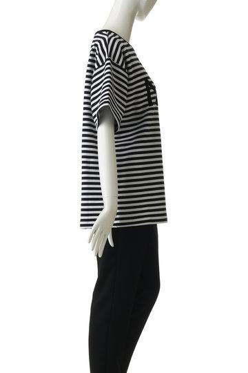 ヌメロ ヴェントゥーノ/N°21のロゴボーダーTシャツ(黒/E031-4032)