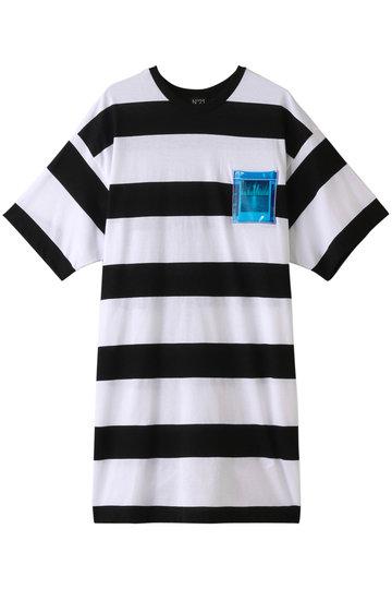 SALE 【50%OFF】 N°21 ヌメロ ヴェントゥーノ メンズ(MENS)ボーダーTシャツ ブラック×ホワイト